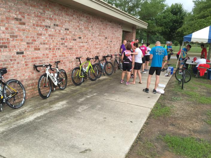 [Image: Jeff Chastain and a contingent of riders from Jonesboro, AR rode 25 miles north to Paragould to participate in our ride and then make the trek home.]